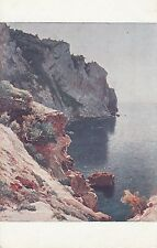 CF65.Vintage Postcard. Evening. Le Soir. By J Olive.View from a cliff face.