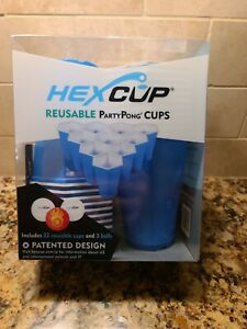 Beer Pong, HexCup Reusable PartyPong Cup Set (22 cups & 3 balls) New in Package