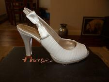 Women`s Shoes Wedding Evening Prom Ivory Heels Slingbacks Size 5 Euro 38