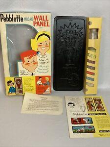 Vintage MCM Craft Kit Pebblette Mosaic Stones Lion Circus Box Kitschy Decor