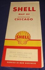 BR455 Vtg Shell Oil Co Chicago IL Road Map 1960