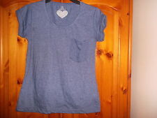 Blue marl cap sleeve top, turn back cuffs, ATMOSPHERE, size 10, NEW