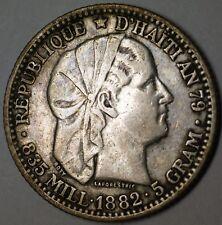 1882 Haiti 20 Cent Very Fine Circulated Silver Liberty Head Coin