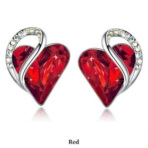 Simple Silver Love Heart Red Zircon Stud Earring Party Wedding Jewelry Gifts