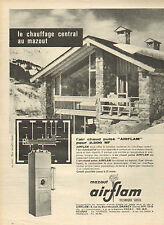 """Publicité 1961  Le chauffage central au mazout  l'air chaud pulsé """"AIRFLAM"""""""
