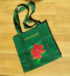 Miles Kimball Christmas Tote Bag Poinsettia! Holly! Green pocket! Double Handles