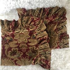 Ralph Lauren Velvet Jacobean Dignitary Ruffled Euro Sham Pillow Red Pair