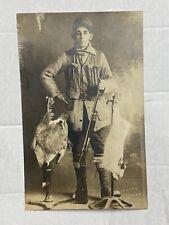Billings, Mt Rppc Postcard Hunting Trophy 12 Lbs Goose Jack Rabbit Studio Hunter