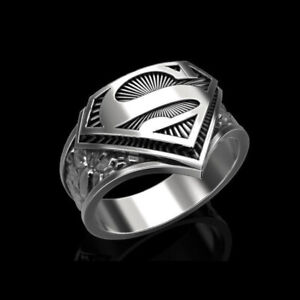 14 Kt Solid White Gold Fine Jewelry Super Man Antique Finger Ring Size 8,9,10,11