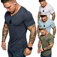 T-Shirt Tee Kurzarm Shirt Basic Unifarben Rundhals Classic Casual Herren M-3XL