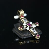925 Sterling Silver Handmade Authentic Turkish Ruby Cross Pendant