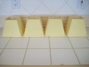 Fabric Lamp Shades Yellow Gingham Checks Uno Fitter - Set of 4