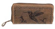 Damen Geldbörse Kolibri Naturleder Büffelleder Rustikal RFID / NFC Handyfach