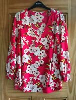 EVANS New Plus Size Pink Ivory Floral Flower Chiffon Top Blouse Size 14 - 30