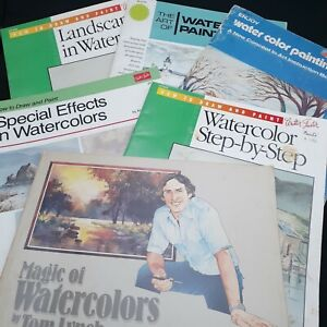 Vintage art books lot How to Paint watercolor instruction painting pictures