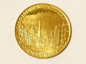 1964 Winter Olympics Innsbruck Solid 22ct Gold Medal Medallion 3.5g 0.900 #T93 *
