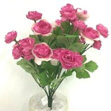 "Ranunculus Flower Bush~Two Tone Pink~Silk/Artificial~14"" Tall."