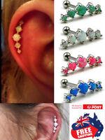 316L Steel Opal Top Barbell Ear Cartilage Helix Tragus Stud Earring Bar Piercing