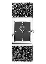 Seksy Rocks by Sekonda Crystal Black Swarovski Strap Silver Dial Watch 2573