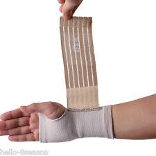 Beige  Wrist Hand Support Glove Elastic Sports Bandage Gym Wrap 18x9cm