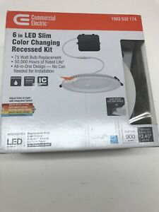 """Ultra Slim 6"""" Canless Color Changing LED Recessed Trim All-in-One Downlight"""