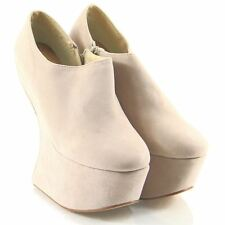 Womens Ladies High Heel Wedge Zip Up Ankle Boots Studded Faux Suede Shoes
