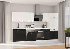 Küche Omega XL 300 cm Küchenzeile Küchenblock Einbauküche Schwarz + Weiß matt