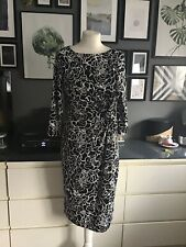 pencil dress 14 16 black white floral slip office evening Occasion Guest