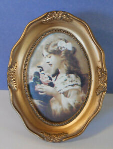 Vintage Victorian Style Oval Picture Photo Frame-antique gold-2 x 3 pic-w Easel