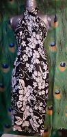 Westbound Beach Women's One Size Beach Scarf/Wrap, Black/White Floral. C-1