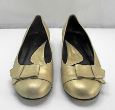 Faconnable Metallic Gold Leather Low Wedge Flats-Women's Size 8M