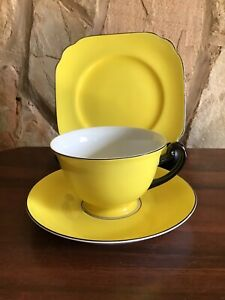 Art Deco Meito  Fine China Yellow Cup, Saucer And Plate Rare