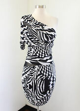 Bebe Black White One Shoulder Mesh Cutout Bodycon Dress Size M Abstract Party