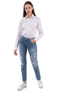 RRP €175 P_JEAN Jeans Size 29 Ripped Style Faded Effect High Waist Zip Fly