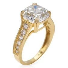 14k Yellow Gold Cushion Cut Solitaire Engagement Ring Size 5-9