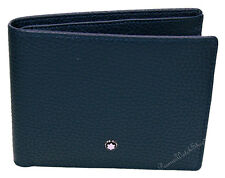 NEW Mont Blanc Meisterstuck Soft Grain 111926 Men's 6-CC Blue Leather Wallet