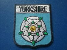 NOVELTY BACKPACKERS FLAG SHIELD SEW / IRON ON PATCH- YORKSHIRE WHITE ROSE COUNTY