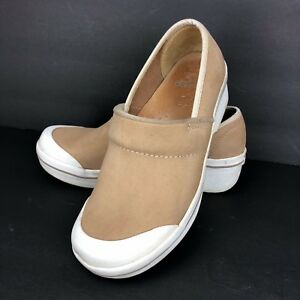 Dansko Professional Clogs Women's size 6 Beige Tan Suede Leather Rubber Toe