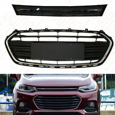 2x For Chevrolet Trax 2017-18 Car ABS Front Bumper Upper+Lower Grille Cover Trim