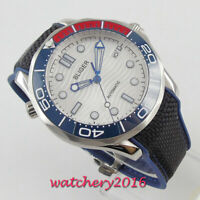 Luxury 41mm bliger white dial luminous sapphire glass date automatic mens watch
