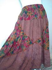 Vtg 90s Floral embroidered Boho Maxi Summer Skirt UK 12-14 w/pockets patchwork