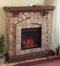 Stacked Stone Electric Quartz Fireplace Heater / Ventless Fireplace