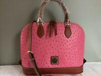 Dooney and Bourke pink ostrich Zip Zip Sacthel handbag Purse Womens Fashion NWT