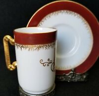 ANTIQUE LIMOGES  RARE DELINIERES & Co MONOGRAM CHOCOLATE CUP & SAUCER 1894
