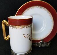 ANTIQUE LIMOGES  RARE DELINIERES & Co MONOGRAM CHOCOLATE CUP & SAUCER 1894