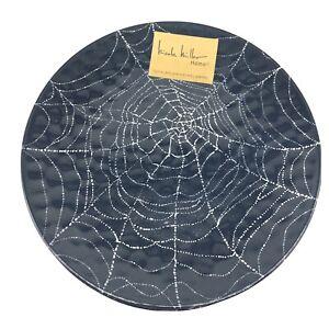 x6 Nicole Miller Melamine Dinner Plate Set Black Spider Web Sparkly Halloween