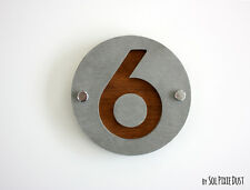 Modern House Numbers, One Number Concrete with Marine Plywood - Sign Plaque