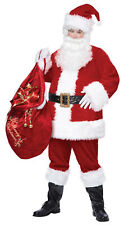 Deluxe Santa Claus Costume Adult Christmas Suit Men Wig Beard Gloves Small-Med