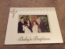 """Hallmark White """"Baby's Baptism"""" Picture Frame with Cross on corner"""