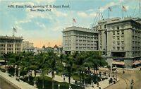 DB Postcard CA J275 Plaza Park showing U.S. Grant Hotel San Diego Street People